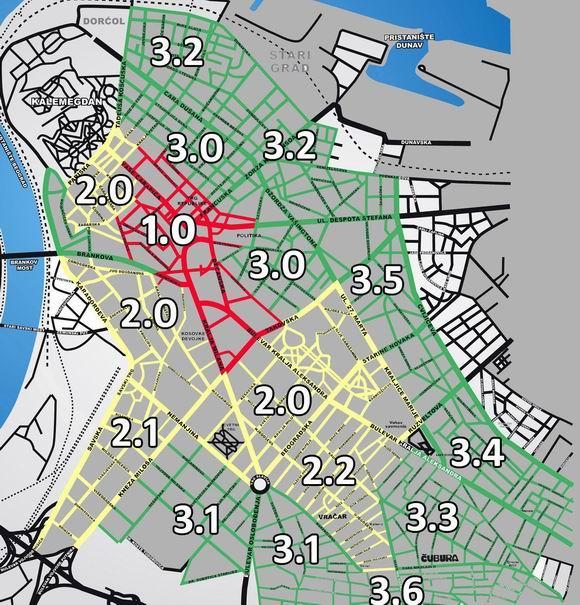 mapa parking zona beograd Zelena zona (III zona)   Beograd   BG Info.org mapa parking zona beograd