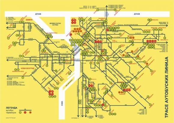 karta beograda sa linijama gradskog prevoza Autobuske linije u Beogradu   Beograd   BG Info.org karta beograda sa linijama gradskog prevoza